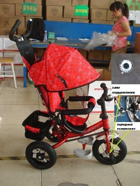 ##Велосипед 3-х колесный,надувные колеса,колясочная крыша.Красный с рисунком.(6010349INF1)
