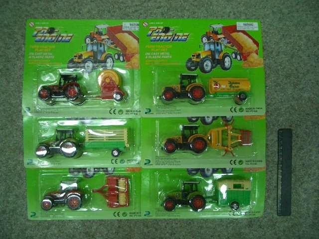 Трактор метал на картоне 6 видов.(PT402)