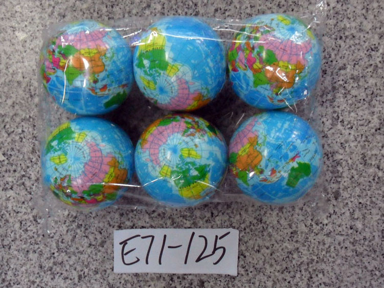 **Мячик»Глобус» 6 шт-по 52 руб.(Н71-125) Цена за 6 штук.