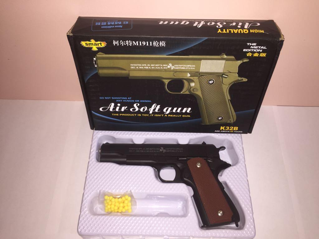 Детский металлический пистолет,с пружинным механизмом,стреляет пласт.шариками.(К.32В) Размер упак.26см*17см*5см.