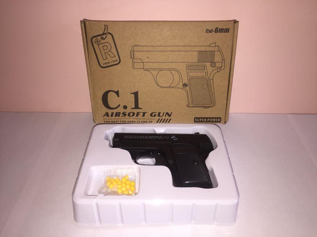Детский металлический пистолет,с пружинным механизмом,стреляет пласт.шариками.(С.1) Размер упак.19,5см*13,5см*4см.