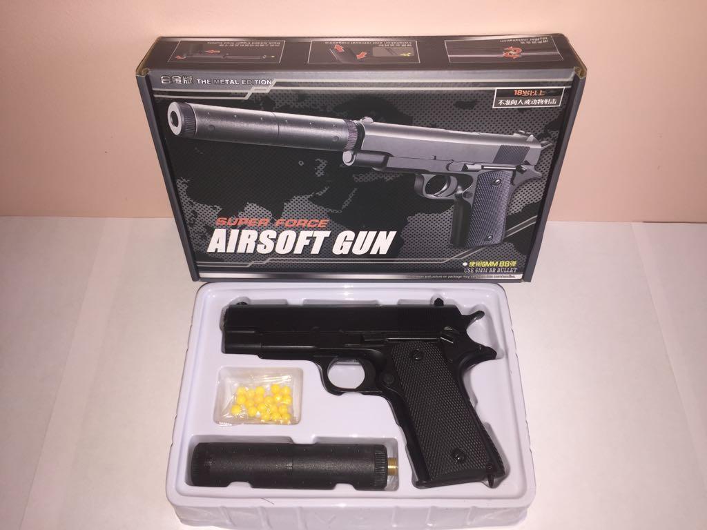 Детский металлический пистолет,с пружинным механизмом,стреляет пласт.шариками.(V2+) Размер упак.14см*21*4,5см.