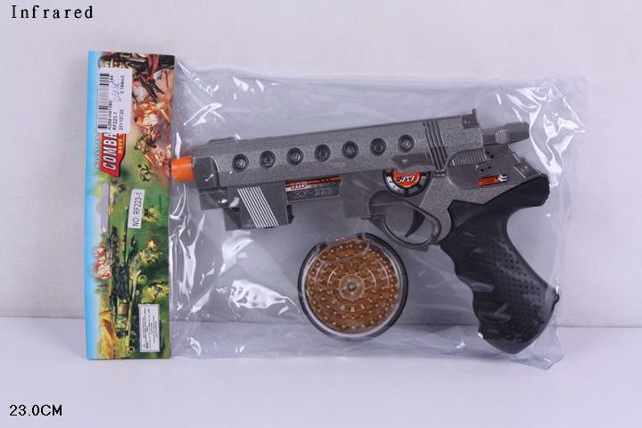 (S)6 Пистолет музыкальный на батар. в пакете .Крутится барабан.Арт.RF223-1