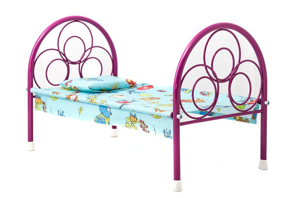 (A) Кроватка для кукол.(Металлическая)Произ-во Россия.Арт.0110.Размер.48*25*30см.