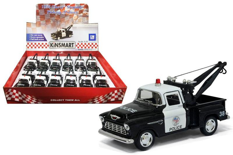 Маш.металл. KT5330DP Chevy Stepside pick-up (Полиция-эвакуатор) Размер.12*5см.откр.двери.