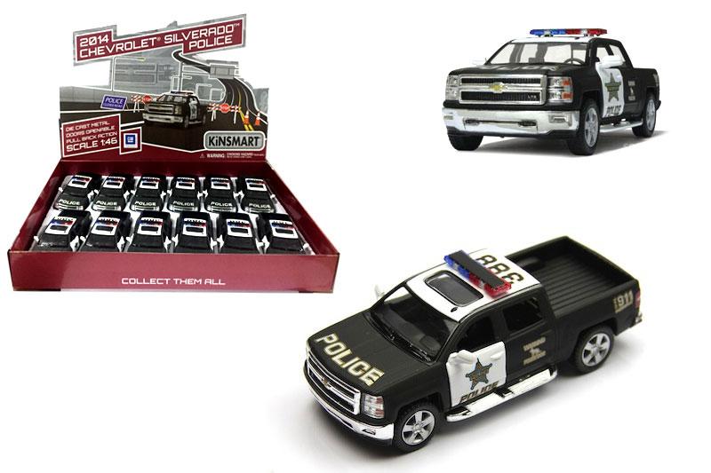 5.Маш.металл. KT5381DP Chevrolet Silverado(Police). Размер.12*5см.откр.двери.