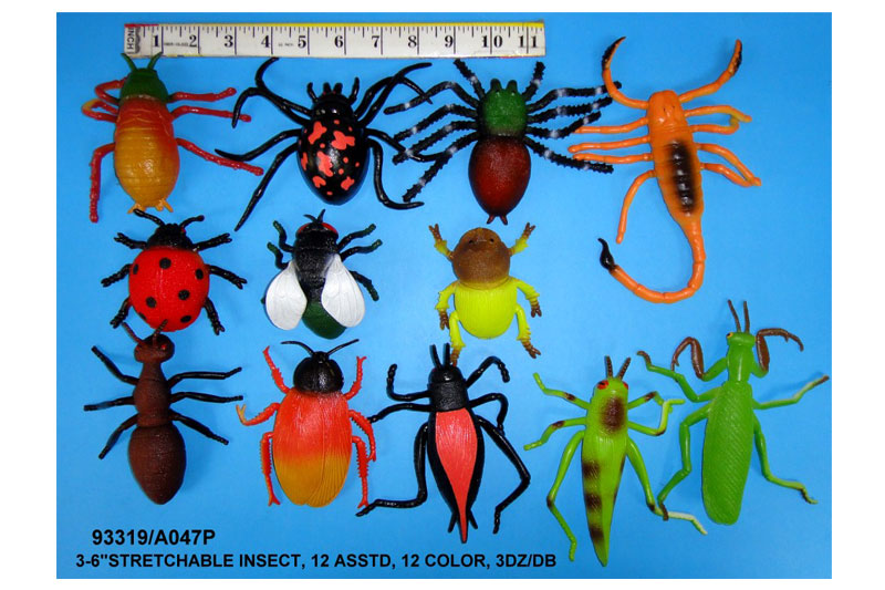 """(П)Резиновые животные.""""Насекомые-тянучки""""(средние) 12 видов.Арт.A047P. Цена за 12 штук."""