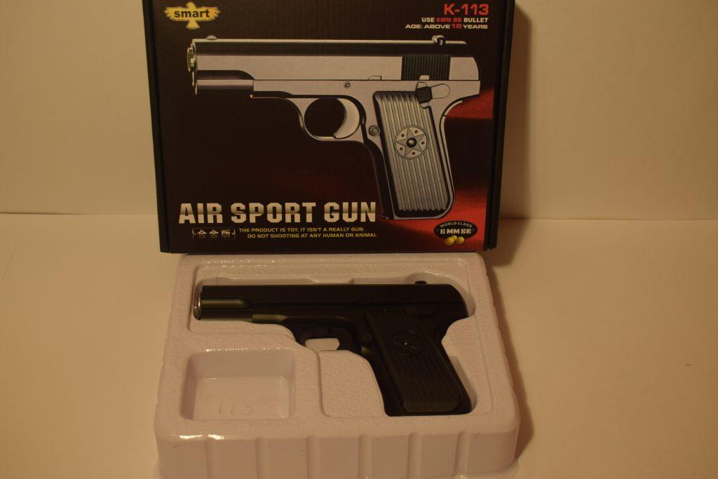 Игрушечный пистолет.(металл+пластик) (К.113) Размер упак.20*15см.
