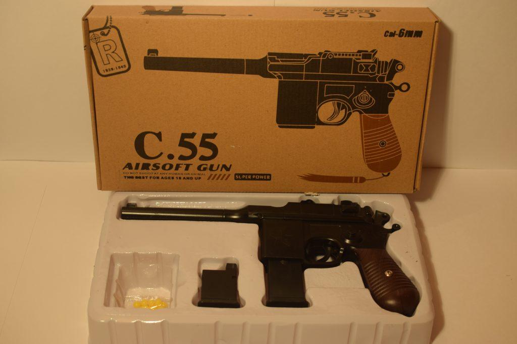 Игрушечный пистолет.(металл+пластик) ( С.55) Размер упак.28*16см.