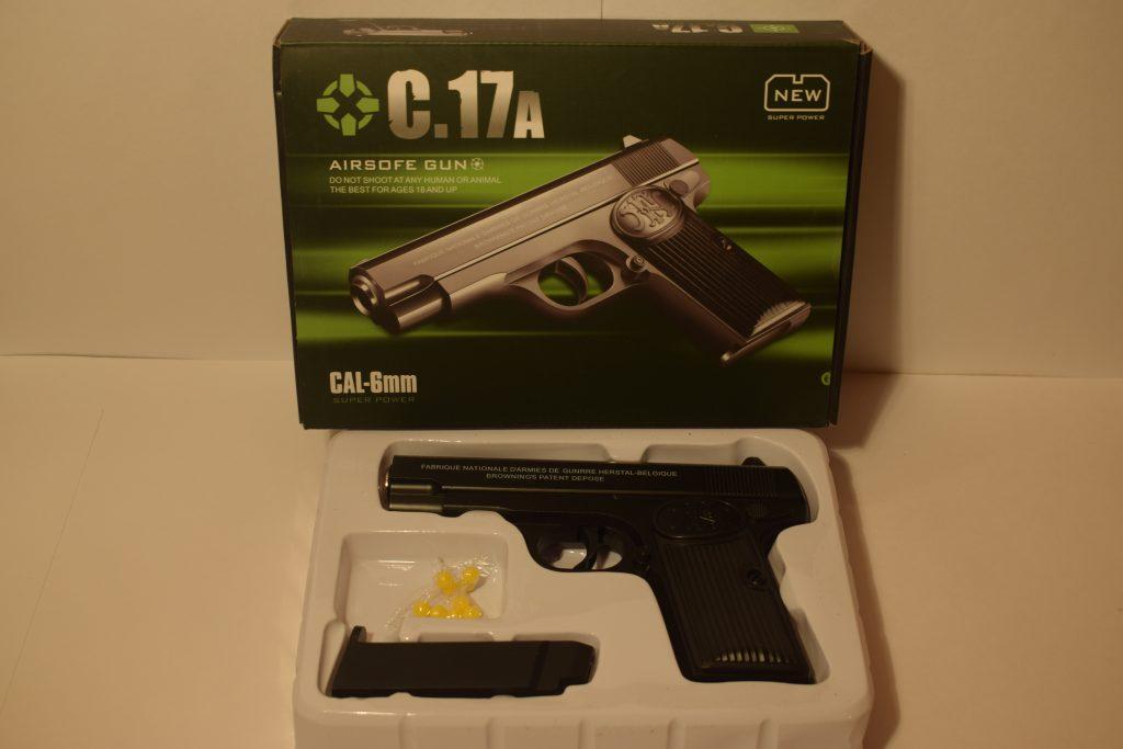 Игрушечный пистолет.(металл+пластик)(С.17А) Размер упак.21*15см.
