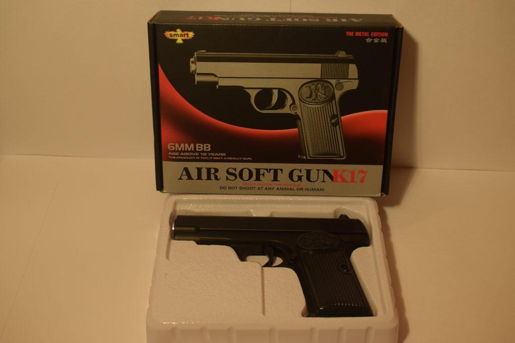 Игрушечный пистолет.(металл+пластик) (К.17) Размер упак.20*14см.