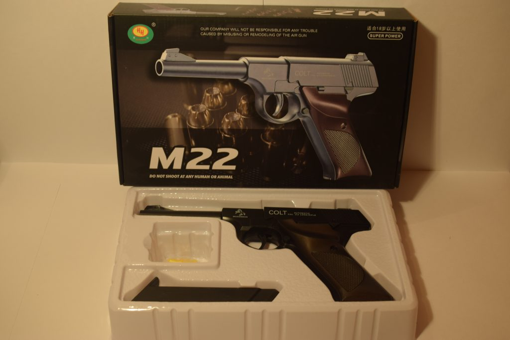 Игрушечный пистолет (металл+пластик)(М-22) Размер упак.27*17см.