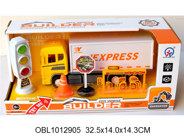 """**Машина.инерц.""""Фургон+знаки+светофор.""""свет.звук.Арт.6634."""