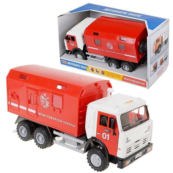"""Машина инерц.""""Камаз-пожарный"""" Размер упак.29*15*11см.Фургон.откр двери,свет звук.Арт.9119В"""