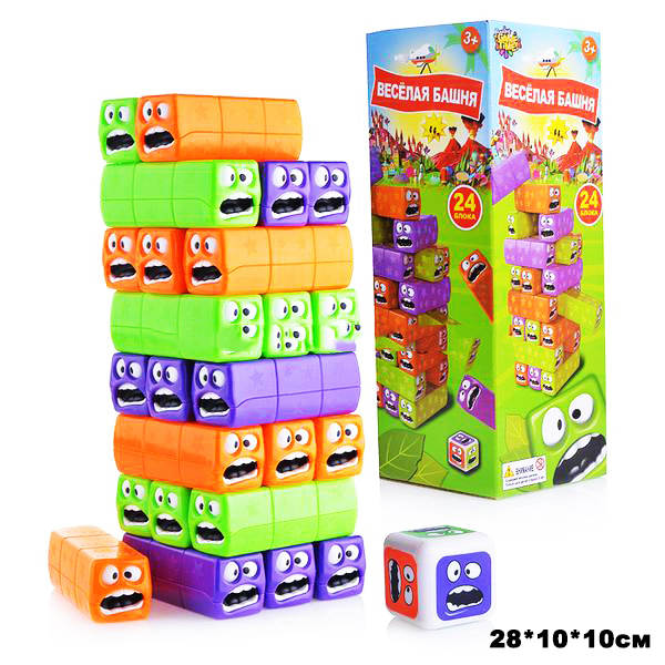 Веселая башня,кубик пластик.Арт.YG878-16/ Размер.28*10*10см.