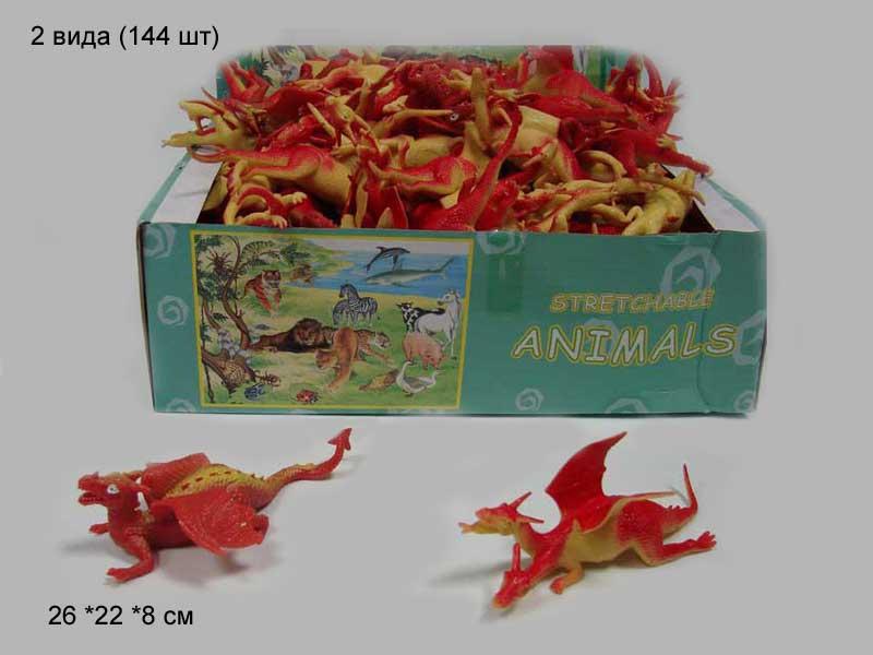 """(А). Резиновые звери тянучки""""Динозавры""""Арт.A037PD. Разм.10см."""