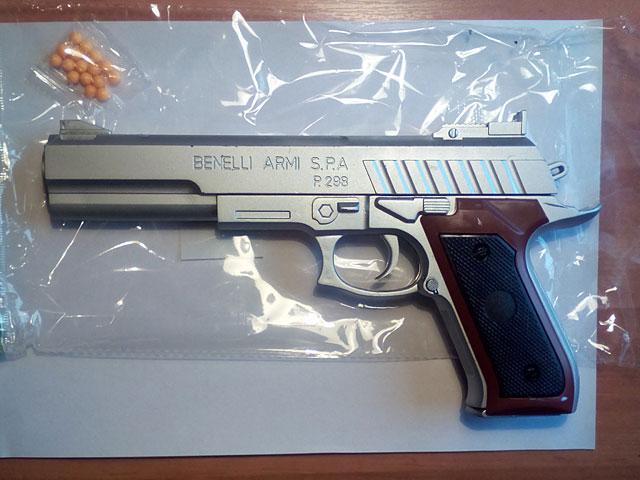 ZZZ.Пистолет стреляет пласт.пульками в пакете.Арт.KP298C