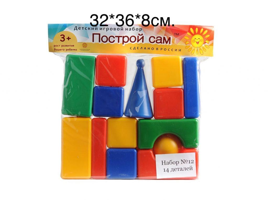 """Строительный набор""""Стена""""Кубики.(Номер 12)-(14-дет) 32*36*8см.Упаковка 6 шт."""